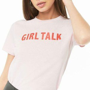 "Forever 21 ""Girl Talk"" Graphic Tee Pink Red Large"